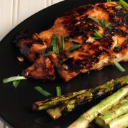 Grilled Salmon with Peanut Hoison Sauce